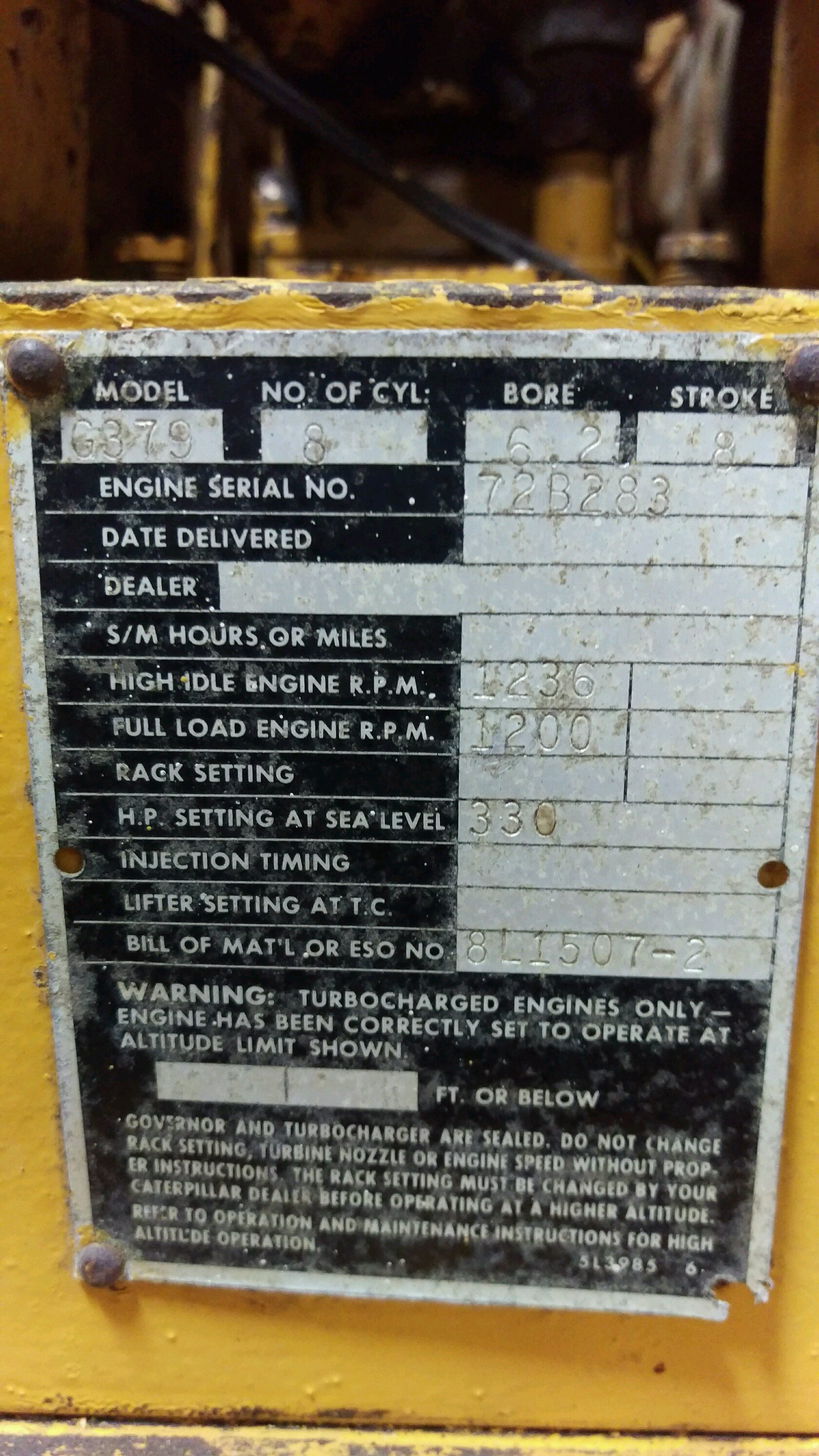 Machine specifications detail
